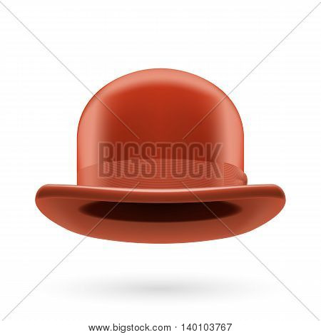 Brown round traditional hat with hatband on white background.
