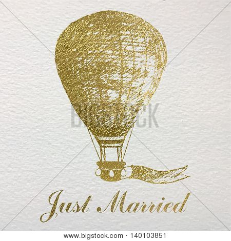 Hand drawn card with gold foil air balloon for newlyweds and weddings.