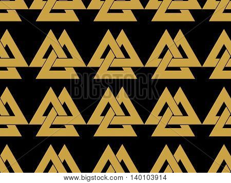 Seamless Pattern With The Symbol Of The God Odin. Valknut. Vector Illustration.
