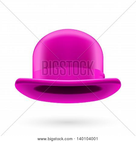 Magenta round traditional hat with hatband on white background.