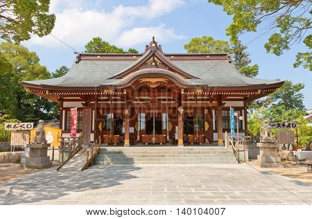 AKO JAPAN - JULY 18 2016: Oishi Shinto Shrine on the grounds of Ako Castle in Ako Japan. Shrine is dedicated to 47 loyal samurai (ronin) described in tale Chusingura