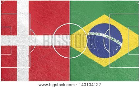 Flags of countries participating to the football tournament. Football field textured by Denmark and Brazil national flags. 3D rendering