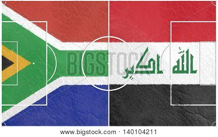 Flags of countries participating to the football tournament. Football field textured by South Africa and Iraq national flags. 3D rendering