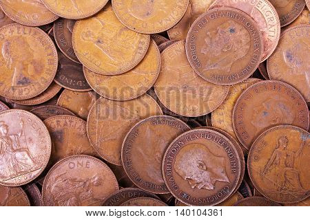 Old Penny Coins Spread Out For Background