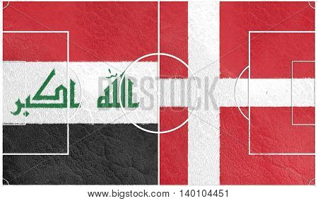 Flags of countries participating to the football tournament. Football field textured by Denmark and Iraq national flags. 3D rendering