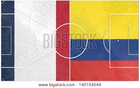 Flags of countries participating to the football tournament. Football field textured by Colombia and France national flags. 3D rendering