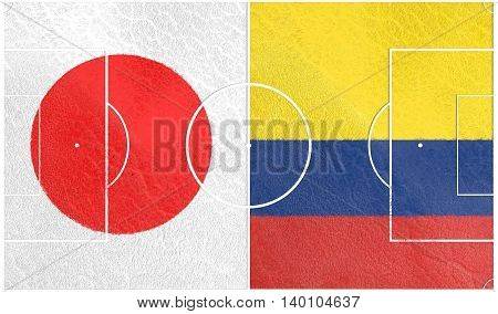 Flags of countries participating to the football tournament. Football field textured by Colombia and Japan national flags. 3D rendering