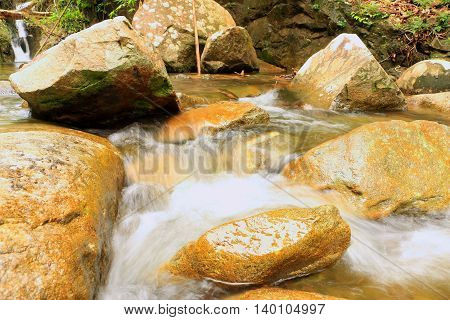 Waterfall in the mountain under the tree shadow of the sun on afternoon.Water fall in Thailand