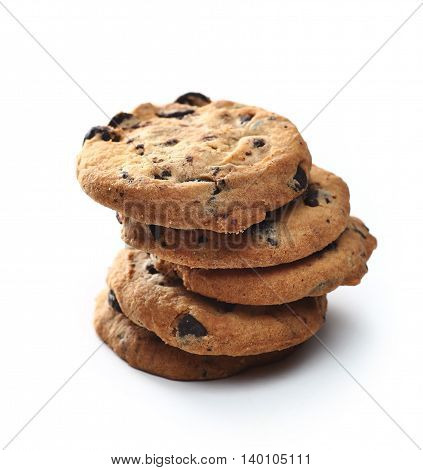 Cookies With Chocolate Chip Isolated On White Background.