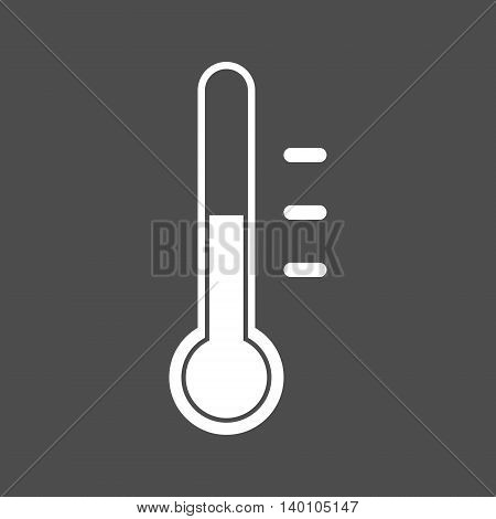 Simple white thermometer icon. Isolated vector illustration.