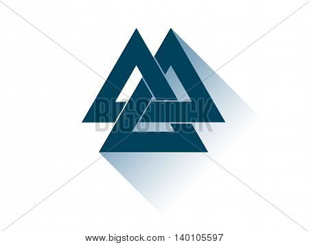 Valknut Is A Symbol Of The World's End Of The Tree Yggdrasil. Sign Of The God Odin. It Refers To The