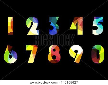 Bright Numbers From Zero To 9. Vector Illustration.