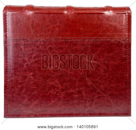 Red leather book on wite backround on white isolated backround