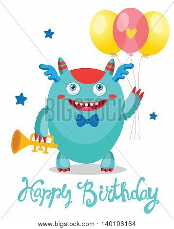 Cute Monster With Balloons. Cartoon Vector Illustration. Funny Greeting Card. Birthday Theme. Monsters University.