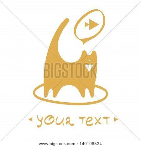 cute cat illustration with text. Hand drawn