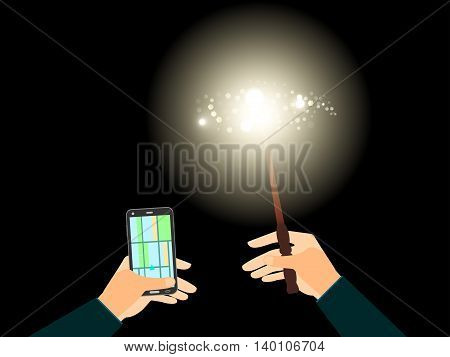 In His Left Hand Phone With Navigation, The Right Magic Wand With A Bright Light Illuminates The Pat