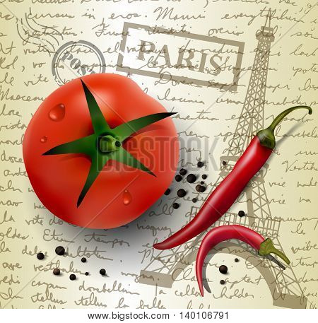 table top with sketching paper on hand-drawn writing background with eiffel tower red and black pepper and tomato