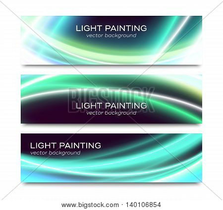 Set of horizontal vector banners with abstract special curved light effects on black background. Colorful website header or flyer templates collection isolated on white