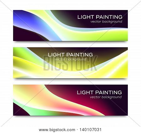 Set of horizontal vector banners with abstract special waved light effects on black background. Colorful website header or flyer templates collection isolated on white
