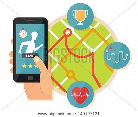 Sport running mobile application. Fitness app on smartphone. Flat design vector