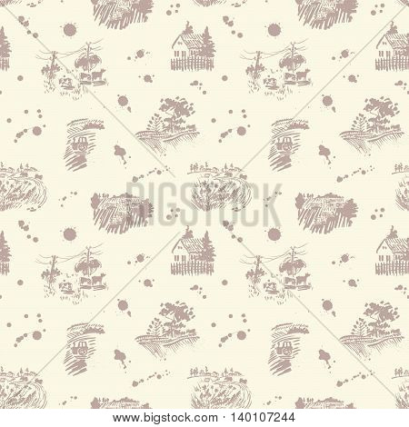 Simless vector pattern with rural landscape silhouettes