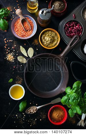 Food frame background or healthy food concept on a vintage background top view