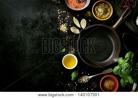 Food frame background or healthy food concept on a vintage background top view with copy space toned
