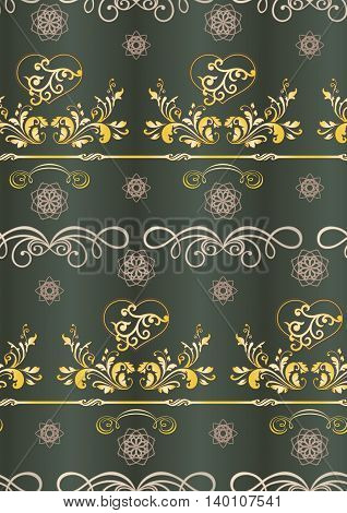 seamless, smooth, soft vector background with Golden light image, branches, vines, hearts, on a soft dark background