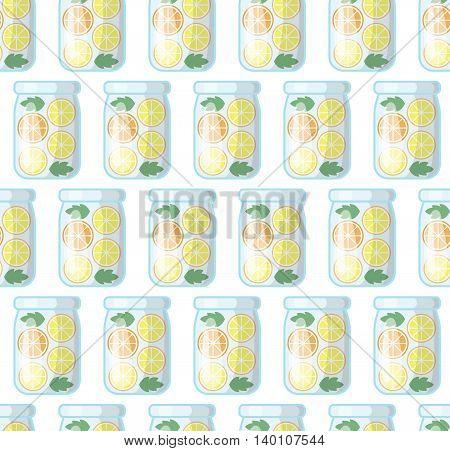 Jar with fresh juice seamless pattern. Kitchen vector background