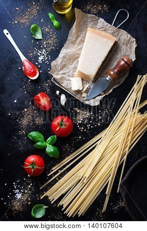 Food frame italian food background healthy food concept or ingredients for cooking pasta on a vintage background top view