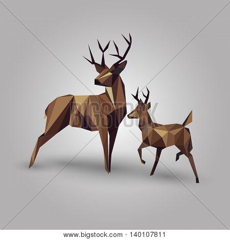 abstract geometric deer couple design on gray background