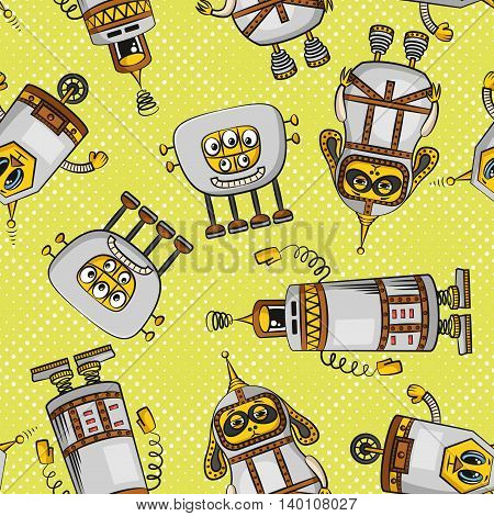 Seamless Background for Your Design with Different Cartoon Robots, Colorful Tile Pattern with Cute Funny Characters. Vector