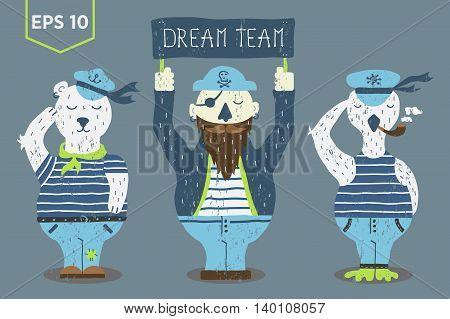 Dream Team marine vector illustration. Sailor, bear, and duck.