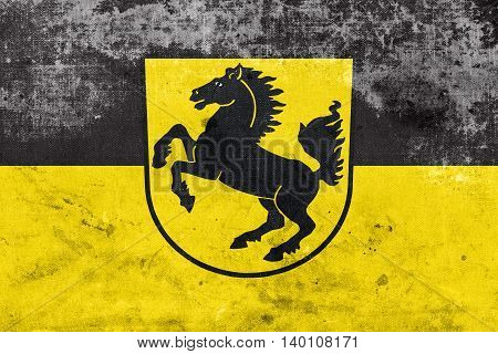 Flag Of Stuttgart With Coat Of Arms, Germany, With A Vintage And