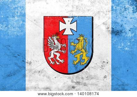 Flag Of Subcarpathian Voivodeship, Poland, With A Vintage And Ol