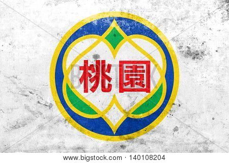 Flag Of Taoyuan, Taiwan, With A Vintage And Old Look