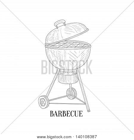 Barbecue Outdors Grill Hand Drawn Realistic Detailed Sketch In Classy Simple Pencil Style On White Background
