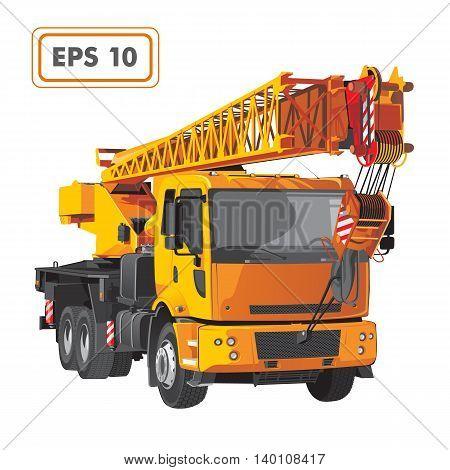 Orange construction crane truck vehicle vector illustration.