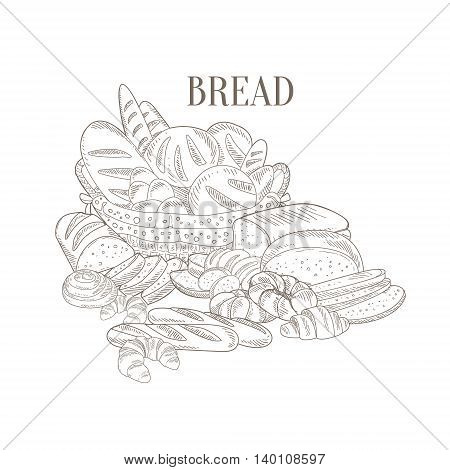 Different Bread Still Life Hand Drawn Realistic Detailed Sketch In Classy Simple Pencil Style On White Background