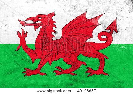 Flag Of Wales, Uk, With A Vintage And Old Look