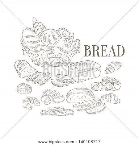 Bread Basket And Other Bakery Products Hand Drawn Realistic Detailed Sketch In Classy Simple Pencil Style On White Background