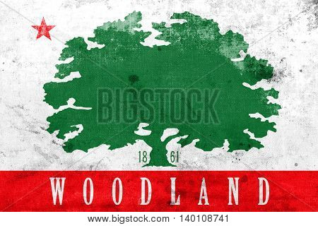 Flag Of Woodland, California, Usa, With A Vintage And Old Look
