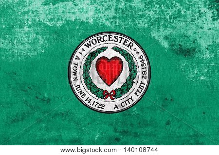 Flag Of Worcester, Massachusetts, Usa, With A Vintage And Old Lo