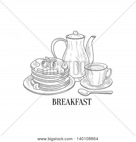 American Breakfast With Pancakes And Coffee Hand Drawn Realistic Detailed Sketch In Classy Simple Pencil Style On White Background