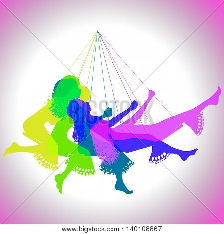 silhouette of a girl on a swing, frame by frame, illustration