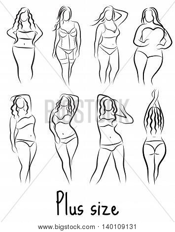 Set Girl silhouette sketch plus size model. Curvy woman symbol. Vector illustration