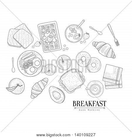 Breakfast Food Isolated Drawings Set Hand Drawn Realistic Detailed Sketch In Classy Simple Pencil Style On White Background