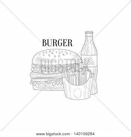 Burger, Soda And French Fries Hand Drawn Realistic Detailed Sketch In Classy Simple Pencil Style On White Background