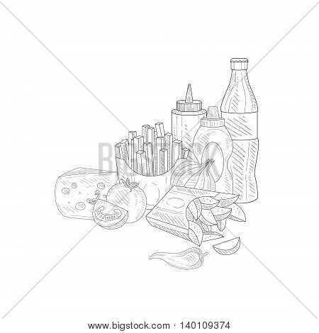 Soda, Fries And Ketchup Hand Drawn Realistic Detailed Sketch In Classy Simple Pencil Style On White Background