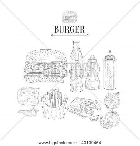 Fast Food Lunch Set Hand Drawn Realistic Detailed Sketch In Classy Simple Pencil Style On White Background
